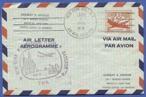 1958 UC16d 10c Air Letter/Aerogramme TWA First Flight > BANGKOK Thailand