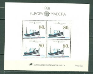 PORTUGAL-MADEIRA 1988 EUROPA-MAIL TRANSPORT. #122a SOUV. SHEET MNH...$10.00