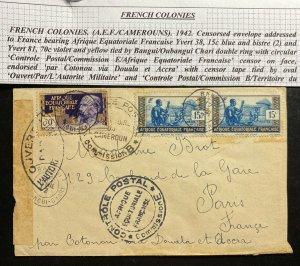 1942 Bangui French Ecuatorial Africa Censored Cover To Paris Francs