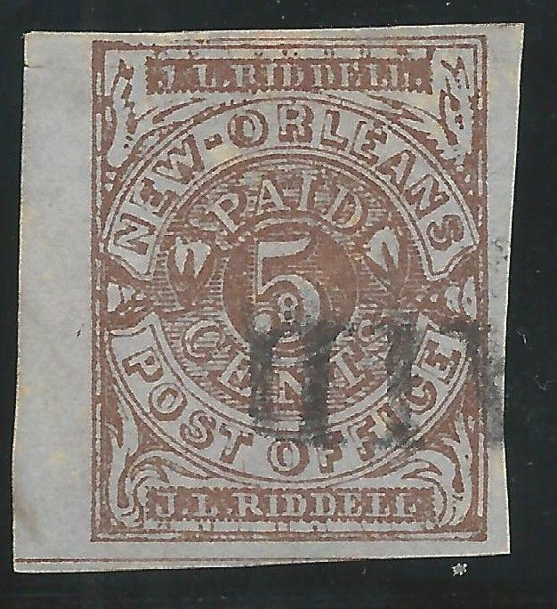 CSA Scott #62x4 Pos 19 New Orleans 5c Used Provisional Stamp PAID Cancel VF