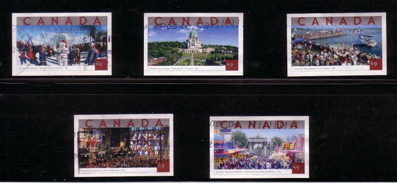 CANADA SET OF TOURIST ATTRACTIONS  (5) USED STAMPS  LOT#108
