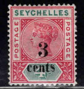 Seychelles Scott 22 MH* perf 14 surcharged Victoria 1893