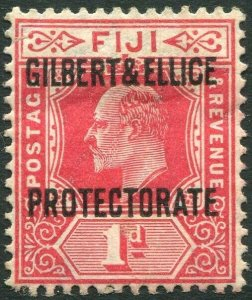 GILBERT & ELLICE ISLANDS-1911 1d Red Sg 2 AVERAGE MOUNTED MINT V34653