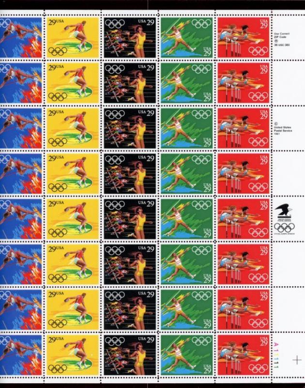 US  2553-57  Summer Olympics 29c -Pane of 40 - MNH - 1991 - A11111  LR  II
