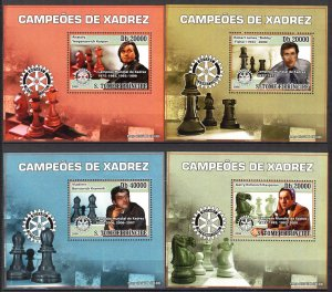 {036} Sao Tome & Principe 2008 Chess 4 S/S Deluxe MNH**