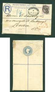 Great Britain. Cover 1883 Registered: Huddersfield. One Pence # 387. Adr: London