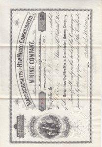 1881, MA & NM Mining Co. Stock Cert. (S18593)