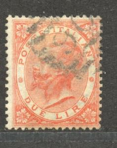Italy,  1863 Top Value, 2 Lire, VF ++ used, Scott # 33