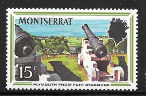 Montserrat 249: 15c Plymouth from Fort St. George, MH, F-VF