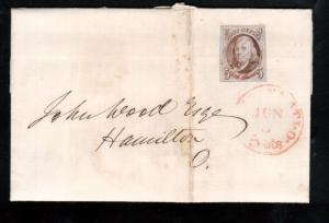 USA #1 Used Fine - Very Fine On Cover To Hamilton With Red Cancel