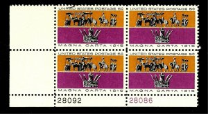 US  1965 Sc# 1265 5 c Magna Carter Issue Mint NH  PLATE BLOCK of 4