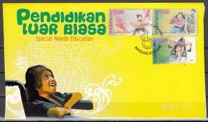 Indonesia, Scott cat. 2140 A-C. Special Needs & Scout issue. First day cover. *