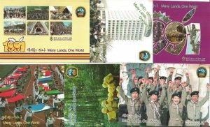 1991 Korea Boy Scout World Jamboree set 6 different postcards unused envelope