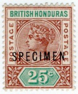 (I.B) British Honduras Postal : QV Definitive 25c (SG 61) specimen