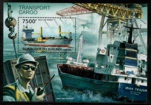 Burundi MNH S/S 1289 Cargo Transport Ships 2012