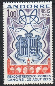 Andorra (Fr) Sc 234 1974 Coats of Arms stamp mint NH