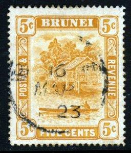 BRUNEI 1916 Brunei River 5c. Orange Wmk Multiple Crown CA SG 49 VFU