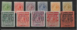 FALKLAND ISLANDS SG60/9 1912-20 DEFINITIVE SET OF 10 MTD MINT
