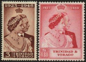 TRINIDAD & TOBAGO-1948 Royal Silver Wedding Set Sg 259-260 MOUNTED MINT V48603