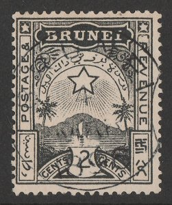 BRUNEI : 1895 Star & Local Scene 2c black.