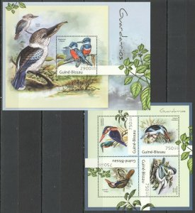 BC561 2012 GUINEA-BISSAU FAUNA BIRDS KINGFISHERS GVARDA-RIOS BL+KB MNH