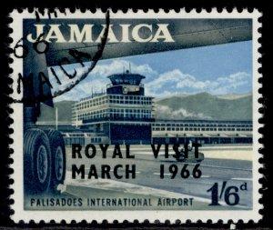 JAMAICA QEII SG251, 1s 6d, Royal visit, FINE USED.