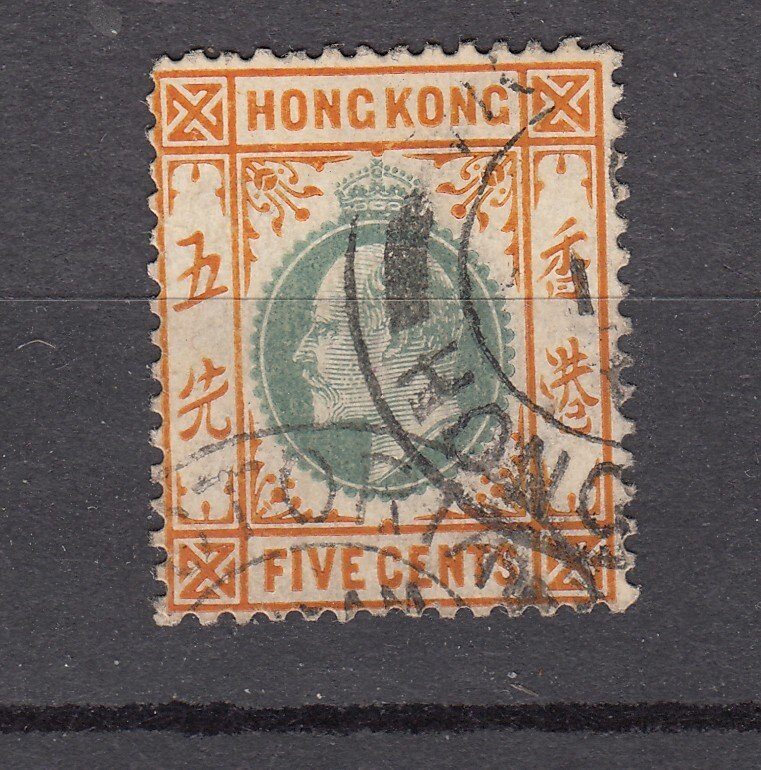 J28280 1904-11 hong kong used #91 king wmk 3
