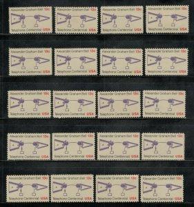 1683 Alexander Graham Bell Wholesale Lot Of 20 US Singles Mint/nh Below Face