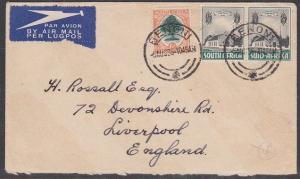 SOUTH AFRICA 1936 7d airmail rate cover BENONI to UK.........................722