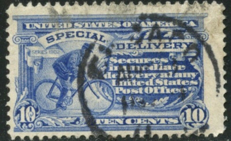 US Sc#E6 1902 10c Messenger on Bicycle Double-Lined Wmk.191 F-VF Used (cd)