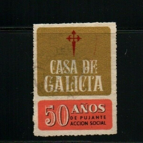 Uruguay Casa de Galicia Health Hospital cinderella poster stamp postally used