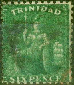 Trinidad 1862 6d Deep Green SG62 P.11.5 Good Used