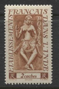 French India - Scott 213 - Apsaras -1948- MLH - Single  2c Stamp