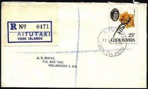 AITUTAKI 1972 Registered cover to NZ 25c opt single franking...............93737