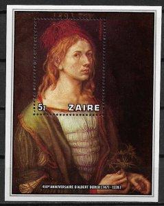 1978 Zaire 892 Albrecht Durer Self-portrait MNH S/S SCV$12.00