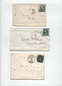 Three 1870s-1880s Boston numeral fancy cancels on 3ct banknote covers [y3348]