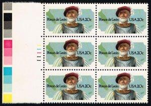 US #2024 Ponce de Leon P# Block of 6; MNH (3.50)