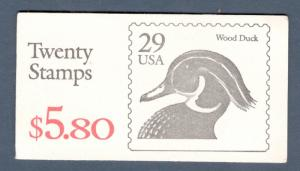 BK174 Wood Duck Booklet Of 20 Black Lettering Mint/nh Selling @ Face