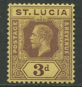 St. Lucia - Scott 68 - KGV - Definitive -1912 - MVLH -Single 3p Stamp