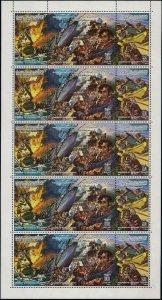 Libya 1265 ac sheet,MNH.Michel 1545-1547 bogen. Battle of the Philadelphia,1985.