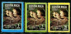 HERRICKSTAMP COSTA RICA Sc.# C747-49 Bird Chicks Airmail Stamps
