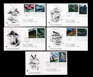 US Stamps #4099a-j ADDR ARTCRAFT FDC Set of 5 Southern Florida Wetland 2006