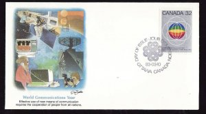 Canada-Sc#976-stamp on Fleetwood FDC-World Communications Year-1983-colourful ca