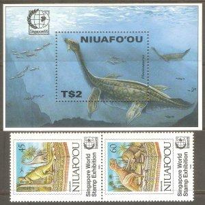 TONGA NIUAFO'OU Sc# 181 - 182 MNH FVF Set Pair + SS Dinosaurs