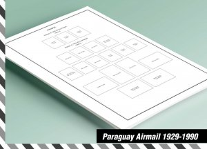 PRINTED PARAGUAY AIRMAIL 1929-1990 STAMP ALBUM PAGES (201 pages)