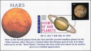 2016, Views of our Planets, Mars, Digital Color Postmark, FDC, 16-224