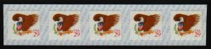 1992 Sc 2597 Red 29c COIL STRIP of 5 MNH