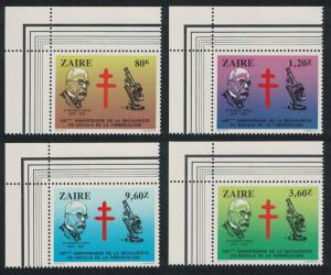Zaire Centenary of Discovery of Tubercle Bacillus 4v Top Left Corners