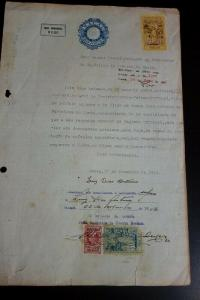 Macao Tax Document 80 Avos Blue Stamped Revenue Paper