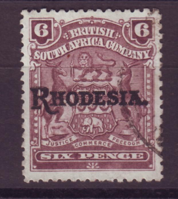 J17073 JLstamps 1909 rhodesia used #89 ovpt